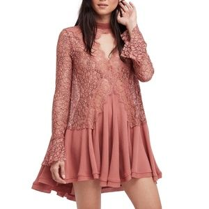 Free People Tell Tale Lace Tunic Mini Dress XS